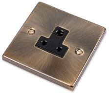 Antique Brass Round 3 Pin Socket