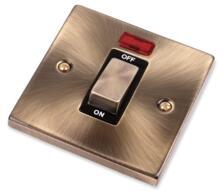 Antique Brass 45A Shower / Cooker Switch