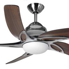 "Fantasia Viper Plus 54"" Ceiling Fan - Stainless St - Dark Oak Blades & 2 x 60W G9 Halogen"