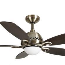 Fantasia Phoenix Ceiling Fan Light - Antique Brass - With Dark Oak Blades