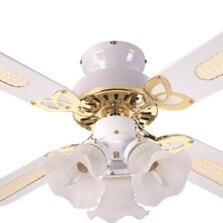 Global Rio Ceiling Fan with Light - White & Brass