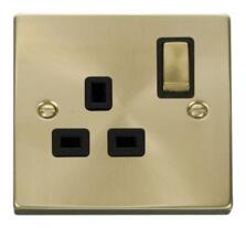 Satin Brass Single Socket -Ingot 1 Gang Switched