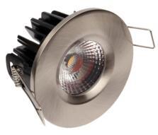 LED IP65 Fixed Shower/ Bath 8w/10w Downlight - Brushed Nickel - 8w