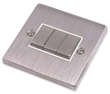 Stainless Steel Light Switch White Insert