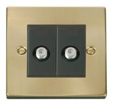 Satin Brass Double Satellite Socket Outlet
