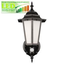 LED Outdoor Lantern - Carrick with PIR Sensor - Black 500Lm