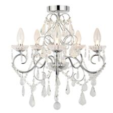 Vela 5 Light Chrome Chandelier IP44 140W