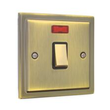 Stepped Antique Brass 20A Double Pole Switch
