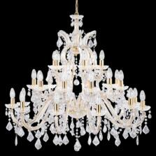 Marie Therese 30 Light Polished Brass Chandelier - Polished Brass/Crystal