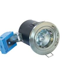 Satin Chrome Fire-Rated Fixed Downlight 12V MR16