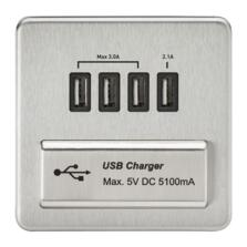 Screwless Brushed Chrome Single Quad USB Charger