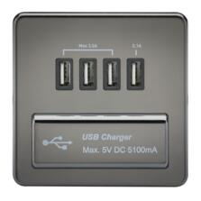 Screwless Black Nickel Single Quad USB Charger