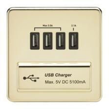 Screwless Polished Brass Single Quad USB Charger
