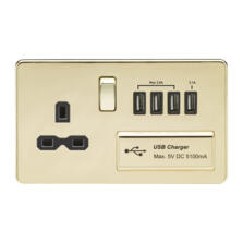 Screwless Polished Brass Single Switched Socket With Quad USB Charger
