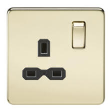 Screwless Polished Brass Single Switched Socket