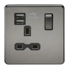 Screwless Black Nickel Single Switched Socket With Dual USB Charger