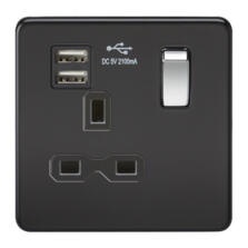Screwless Matt Black Single Switched Socket With Dual USB Charger