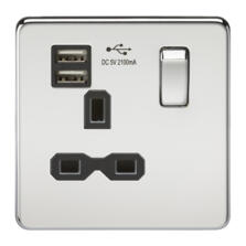 Screwless Polished Chrome Single Switched Socket With Dual USB Charger