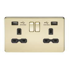 Screwless Polished Brass Double Switched Socket With Dual USB Charger
