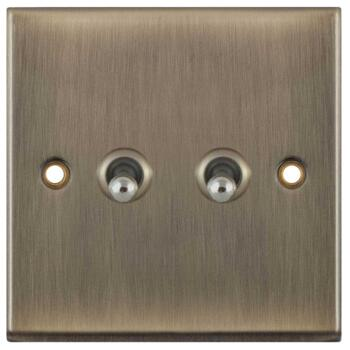 Slimline Antique Brass Toggle Switch - 2 Gang 2 Way Double