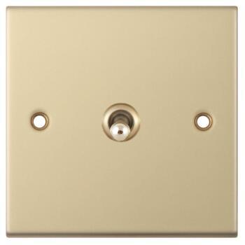 Slimline Satin Brass Toggle Switch - 1 Gang 2 Way Single