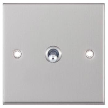 Satin Chrome Toggle Switch - 1 Gang Intermediate