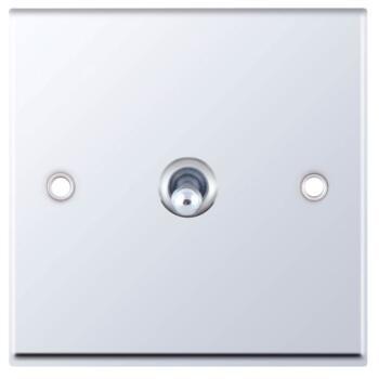 Polished Chrome Toggle Switch - 1 Gang Intermediate