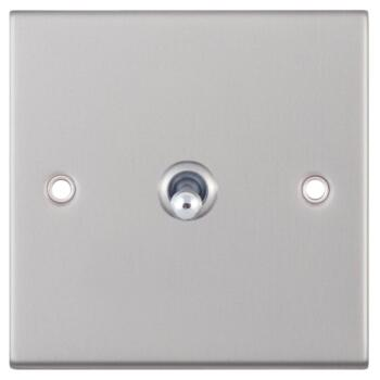 Slimline Satin Chrome Toggle Switch - 1 Gang 2 Way Single