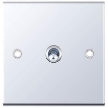 Slimline Polished Chrome Toggle Switch - 1 Gang 2 Way Single