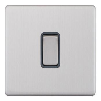 Screwless Satin Chrome Light Switch - 1 Gang 2 Way