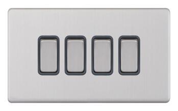 Screwless Satin Chrome Light Switch - 4 Gang 2 Way