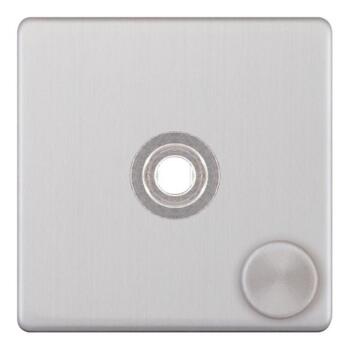 Screwless Satin Chrome LED Dimmer - 1 Gang Empty Plate With Knob