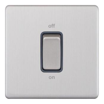 Screwless Satin Chrome 45A Cooker / Shower Switch - 1 Gang