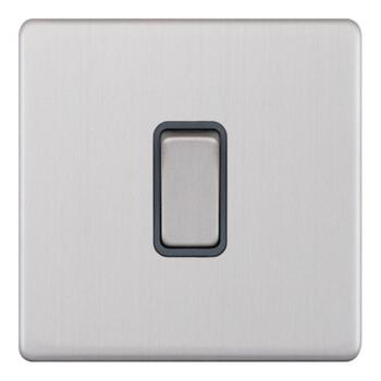 Screwless Satin Chrome 20A DP Isolator Switch - 1 Gang