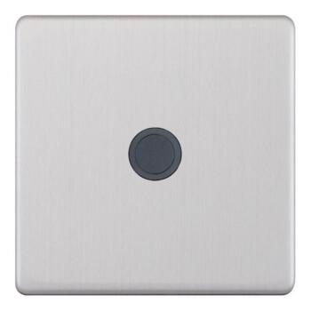Screwless Satin Chrome Cable Flex Outlet Plate - 20A Centre Entry