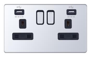 Screwless Polished Chrome USB Socket - 2 Gang Double