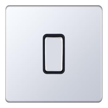 Screwless Polished Chrome Light Switch - 1 Gang 2 Way