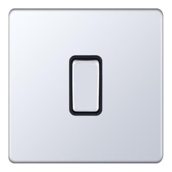 Screwless Polished Chrome 20A DP Isolator Switch - 1 Gang
