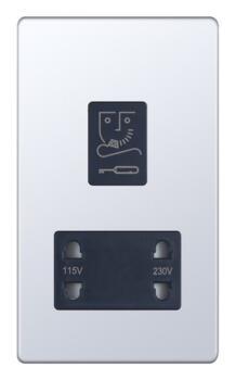 Screwless Polished Chrome Shaver Socket - 230/115v