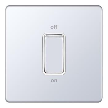 Screwless Polished Chrome Cooker / Shower Switch - 1 Gang