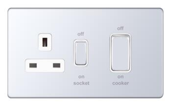 Screwless Polished Chrome Cooker Switch / Socket - 2 Gang