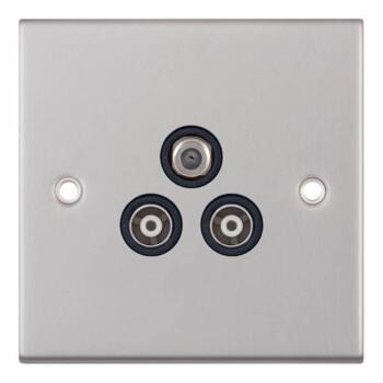 Slimline 3 Gang Satellite & TV Socket-Satin Chrome - With Black Interior