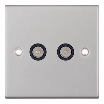 Slimline 2 Gang Twin TV/FM Socket - Satin Chrome - With Black Interior