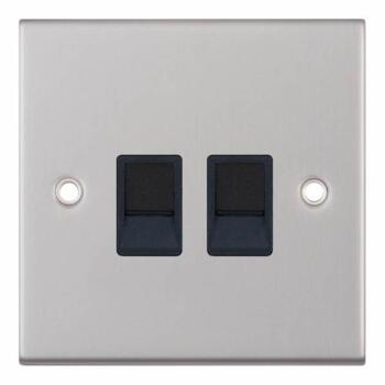 Slimline Twin RJ45 Data Outlet Socket-Satin Chrome - With Black Interior