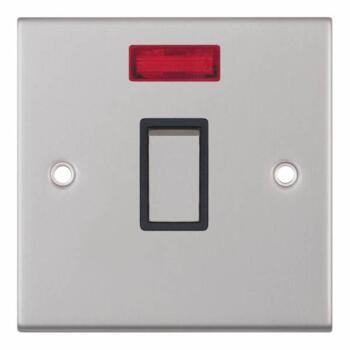 Slimline 20A DP Switch - Neon - Satin Chrome - With Black Interior