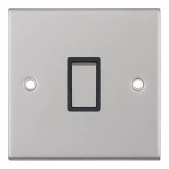 Slimline 20A DP Switch - Satin Chrome - With Black Interior