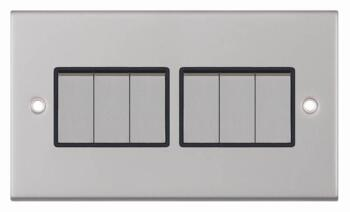 Slimline 2 Way 6 Gang Light Switch - Satin Chrome - With Black Interior