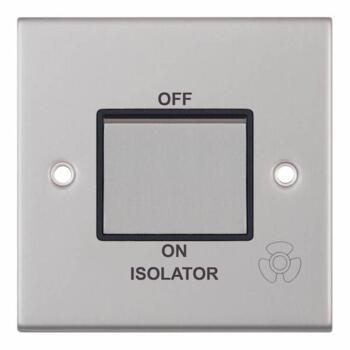 Slimline Fan Isolator Switch - Satin Chrome - With Black Interior
