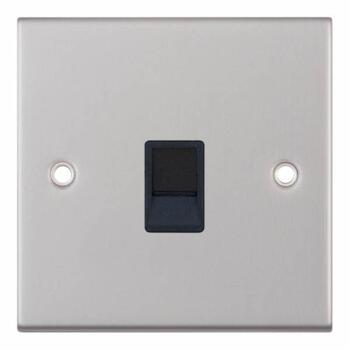 Slimline Single RJ45 Data Outlet Socket-Sat Chrome - With Black Interior