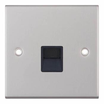Slimline Single Telephone Socket Master-Sat Chrome - With Black Interior